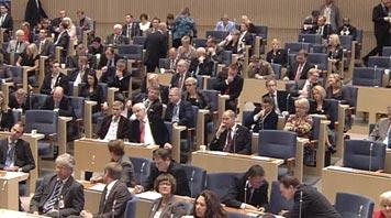 Rikssalen. Bild från riksdagens webbtv.