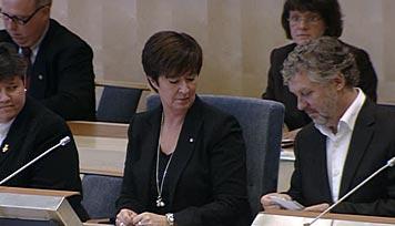 Mona Sahlin och Peter Eriksson. Bild från riksdagens webbtv.