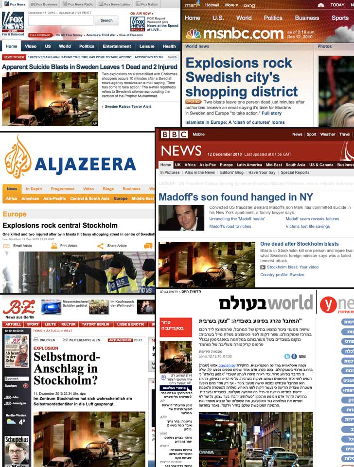 Bombdådet i Stockholm i internationell press